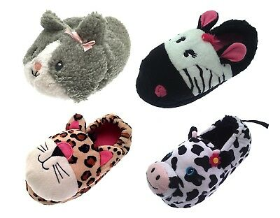Girls Plush 3D Animal Slippers Boots Character Winter Booties Xmas Gift Size