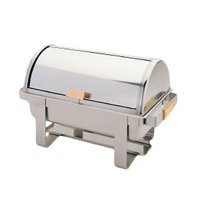 Thunder Group 8 Qt Stainless Steel Roll Top Chafer w/ Gold Accent Handles