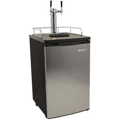 "EdgeStar KC2000SSTWIN 20""W Dual Tap Kegerator for Full Size Kegs with Ultra Low"