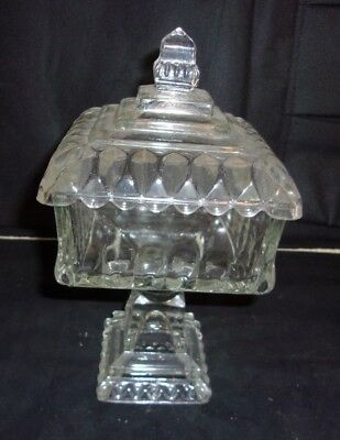 VTG SQUARE Pedestal Covered Candy Dish Clear Glass Compote Footed bowl