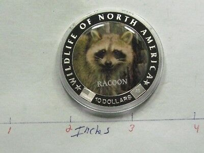 Racoon Color Tableau Wildlife America Copper Silver $10 Liberia Coin Sharp X4