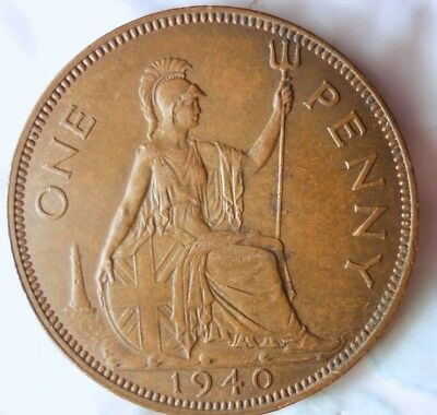 1940 GREAT BRITAIN PENNY - Excellent Collectible - FREE SHIP - Britain Bin J