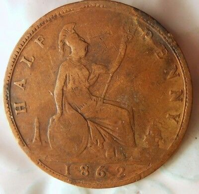 1862 GREAT BRITAIN 1/2 PENNY - Excellent Collectible - FREE SHIP - Britain Bin J