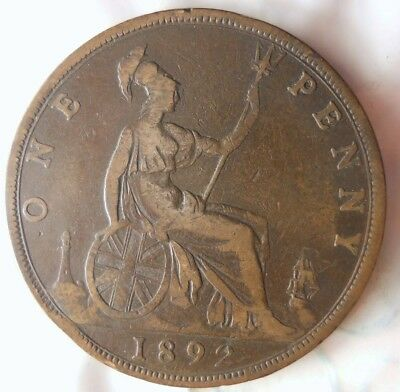 1892 GREAT BRITAIN PENNY - Excellent Collectible - FREE SHIP - Britain Bin J