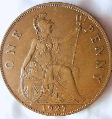 1927 GREAT BRITAIN PENNY - Excellent Collectible - FREE SHIP - Britain Bin J