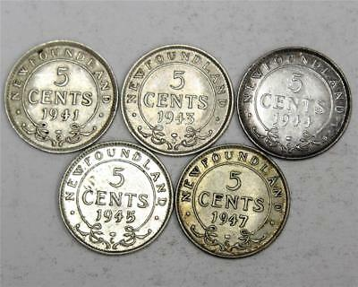 Newfoundland 5 cents silver 1941 1943 1944 1945 and 1947c 5-coins VF-EF