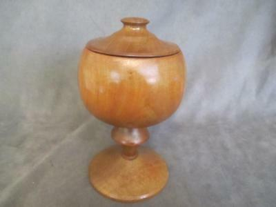 Antique Wood Hand Turned - TREEN Footed Covered Box Urn   dl