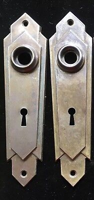 (2) Matching Art Deco Vtg Skeleton Key DOOR PLATE Backplates Escutcheon Rosettes