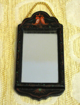 Vintage Dollhouse Miniature Hanging Mirror Hand Painted Wood Frame BEAUTIFUL