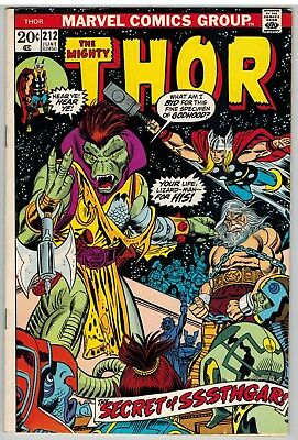 Thor #212 1973 1St Sssthgar And The Lizard People Marvel Bronze Age Nice!