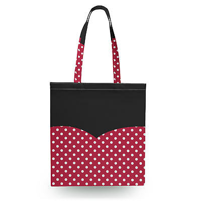 Minnie Rock The Dots Disney Inspired Canvas Tote Bag - 16x16 inch Book Gym Bag