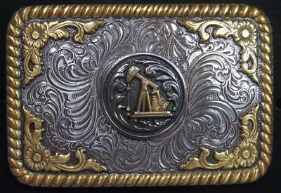 Nocona Western Belt Mens Buckle Oil Derrick Rope Silver and Gold Tone 3770261