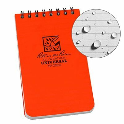 Rite in the Rain OR35 Top Spiral Writing All Weather Paper Orange Notebook