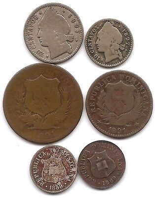 Dominican Republic Lot of 6  2 1/2, 5, 10, 20 Centavos 2 Silver 1888 1891 1897