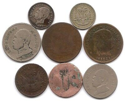 Haiti Lot of 8 Coins 1,2, 5, 20 & 50 Centimes 1846 - 1908
