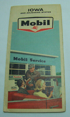 Mobil 1965 Iowa and Adjoining States Oil Gas Service Station Road Map