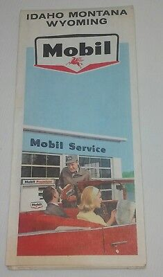 Mobil 1965 Idaho, Montana, & Wyoming  Oil Gas Service Station Road Map