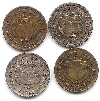 Costa Rica Lot of 4 5 Centimos Coins Silver 1905, 1929, 1936 & 1942 Over Strike
