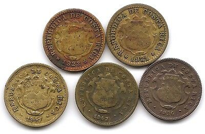 Costa Rica Lot of 5 10 Centimos Coins 1921, 1922, 1936, 1942 & 1947