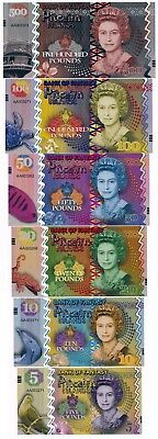 Pitcairn Islands 5;10;20;50;100; & 500 Pounds QEII Fantasy Notes Set ND 2018