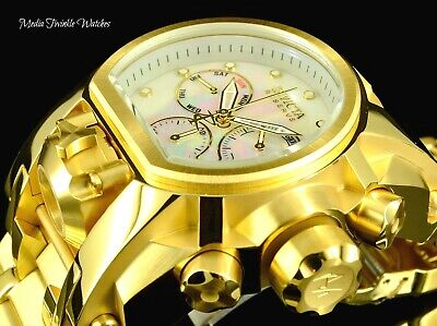 NEW Invicta Reserve 52mm Bolt Zeus White MOP DIAL MAGNUM 18K Gold Plated Watch!!