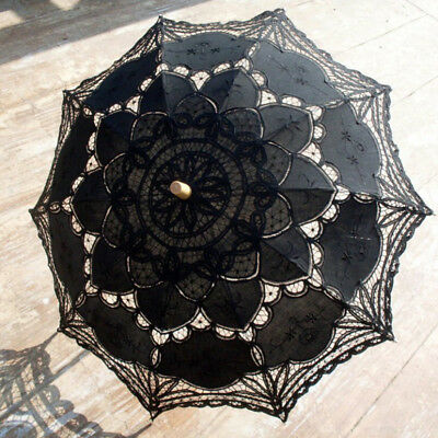 Vintage Ladies Black Cotton Parasol Lace Umbrella Party Wedding Bridal Decor