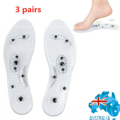 Transparent Magnetic Massage Insole Gel Pad Therapy Acupressure Feet Care Health