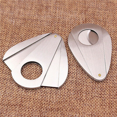 Double Blades Guillotine Cigar Cutter Mini Waterdrop Stainless Steel Cigar Knife