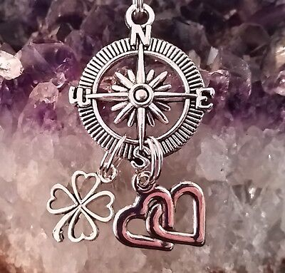 "Wow - New Style Handcrafted Compass & Multi-Charm ""guide To Life""  Pendant"