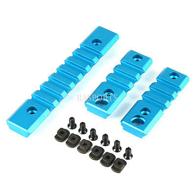 BLUE 3PCS COMBO M-Lok ALUMINUM Rail Mount Handguard Section 7 3 3 Slot Picatinny