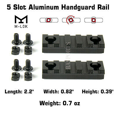 2PCS M-Lok Aluminum Handguard Hollow Rail 5 Slot Picatinny Weaver for MLOK