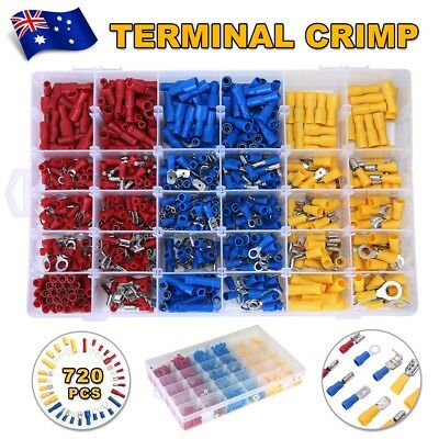 Electrical Wire Connector 720pcs Assorted Insulated Crimp Terminals Spade Set DH