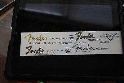 4 Fender Stratocaster and Telecaster Decals + 1 custom shop logo, all waterslide