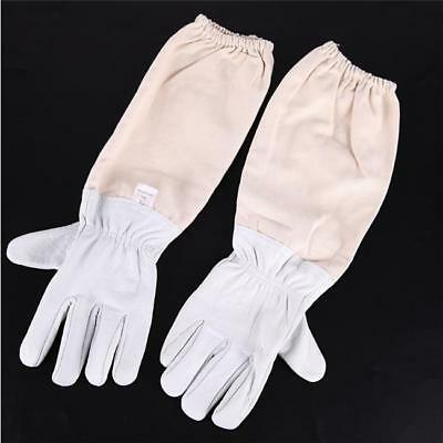 Beekeeping Bee Gloves - Soft White Sheepskin + Canvas Gauntlets Size LC