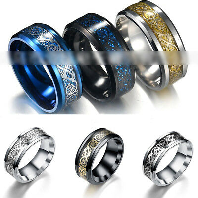 Punk Men Women Dragon Design Rings Jewelry Stainless Steel Band Size 7-11 New