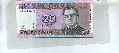 Lithuania 2007 20 Litu Currency Note  Cu 49F