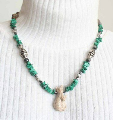 Ancient Style Carved Jasper Cat Mother & Scarab Necklace by Judy Strobel