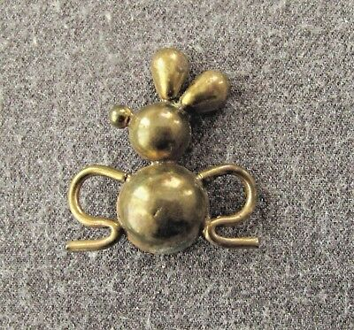 Vintage 40's Gold Toned Metal Mouse Pin