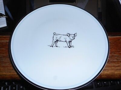 "New Mint White with Black Rim Pig Piglets Porcelain 8"" Plates"