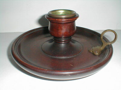Mahogany Wood #2089 Round Chamber Candle Holder w Brass Finger Handle (loc-bas)