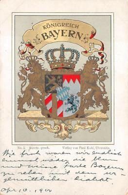 Konigreich Bayern Bavaria Germany Coat Of Arms Royalty Postcard 1900