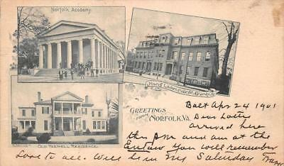 Greetings From Norfolk Virginia Young Ladies College Tazwell Res. Postcard 1901