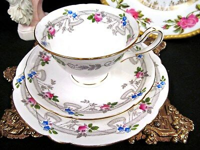 Shelley  Tea Cup And Saucer Trio Painted Rose Swag Floral Band Teacup Pattern