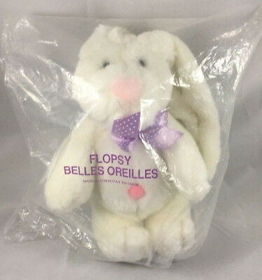 Avon Canada Flopsy Vintage White Plush Bunny Rabbit Easter Purple Ribbon