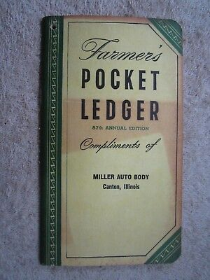 1953 -1954 John Deere Farmers Pocket Ledger, Miller Auto Body Canton Illinois