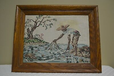 Vintage Paint By Numbers Painting Mid Century MCM Fisherman  With Nets - Framed