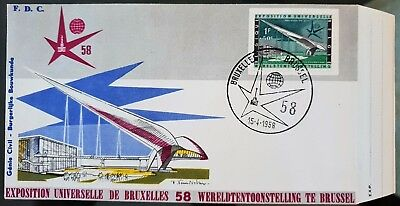 Belgium Brussels 1958 Universal Exhibition FDC With Semi Postal Stamp Cachet