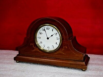 Antique French 8 Day Tambour Clock Desk, Boudoir, Mantle With Inlay Working