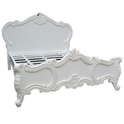 Antique French Style White Carved Rose Cherub Double, King or Super King Bed