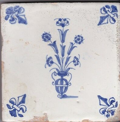 Delft Tile c. 18th  century   (D 15)      Vase of flowers